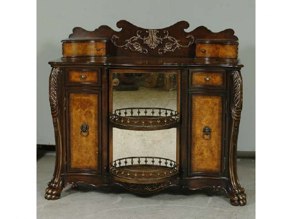 7189: Fine Burled Wood Buffet with Gallery