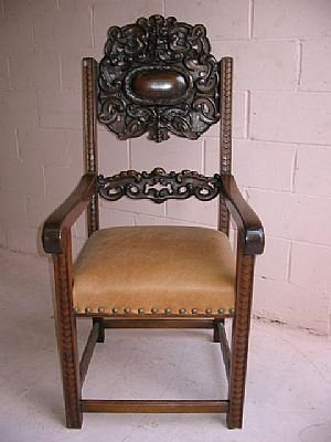 7190: Heavy Carved Northwind Face Entry Chair