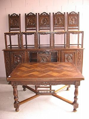 7198: Fine Carved Antique Oak Dining Set