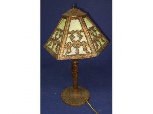 14: Miller Slag Glass Panel Lamp