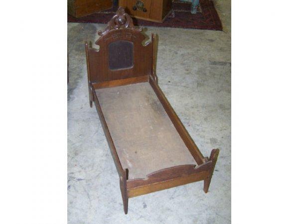 3: Victorian Walnut Doll Bed