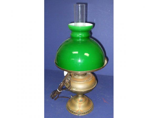 8: Vintage Brass Oil Lamp with Green Glass Shade