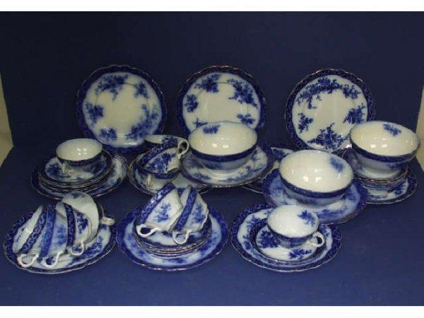 1G: Lot of 50 Plus FLOW BLUE Touraine Dishes