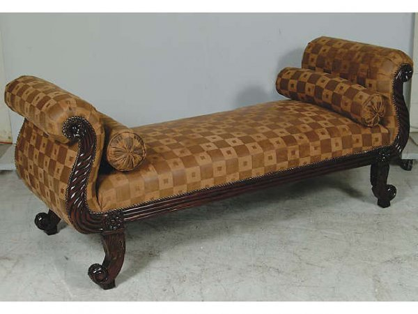 10005: Hand Carved Mahogany Rolled Arm Sofa