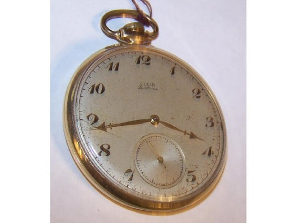10016o: Elgin  Deco 1920s 14k Solid Gold Pocket Watch