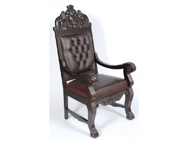 6243: Carved Lion Crest Arm Chair