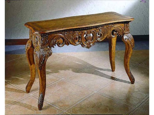 11179: Fine Burled Walnut Fancy Carved Console Table