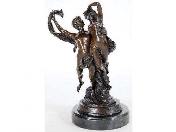 """10106: Figural Bronze Study """" Flight of Darius """""""