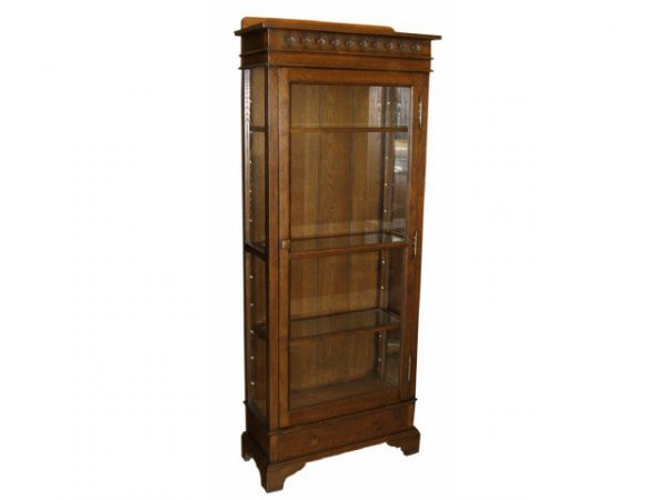 7004: Oak Single Door Bookcase with Drawer