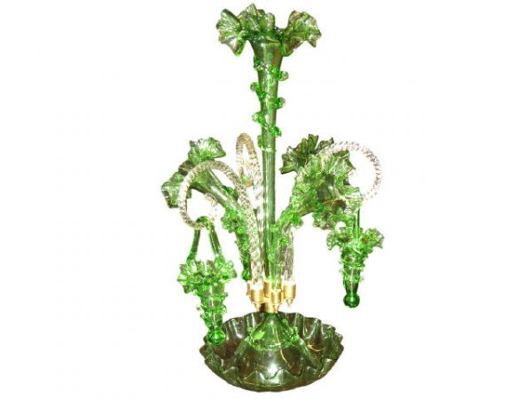 7010: Green Glass Victorian Style Epergne with Baskets