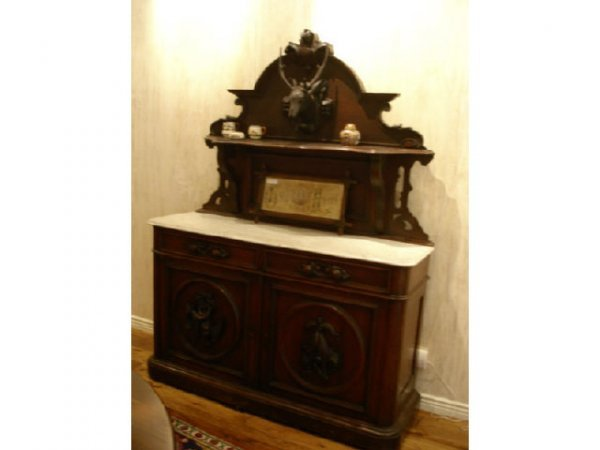 7016: 1860s Roux Marbletop Sideboard with Elk Carving