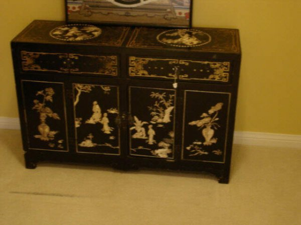 7022: Black Lacquer Oriental Chest with Ivory Carvings