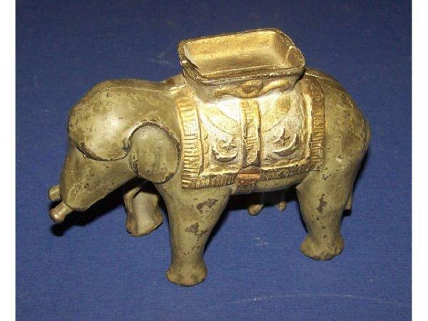 6: Antique Short Tusk ELEPHANT  Penny Bank
