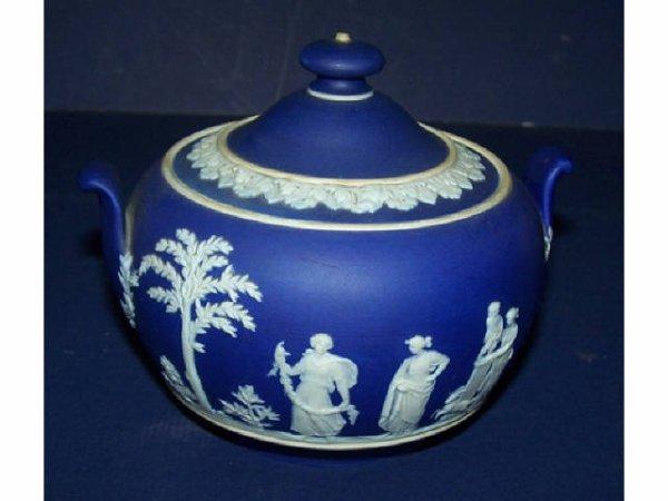 11: Wedgwood Dark Blue Jasperware Covered Sugar