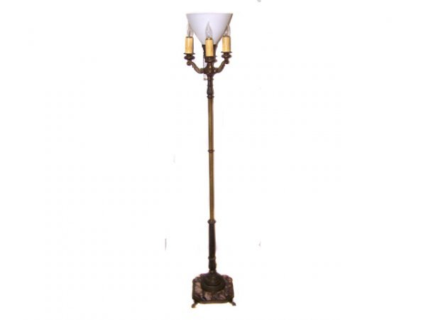 24: 1920s Marble Base Floor Lamp