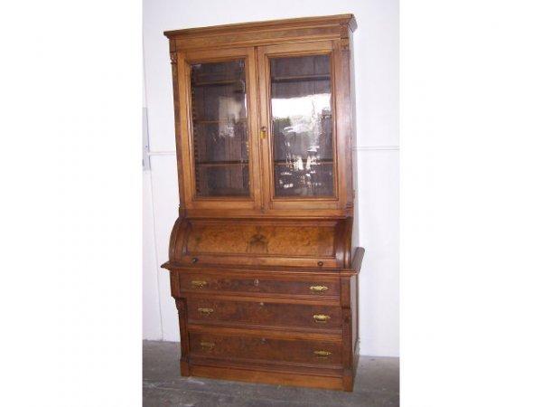 130: Fine Victorian Cylinder Roll Bookcase Secretary