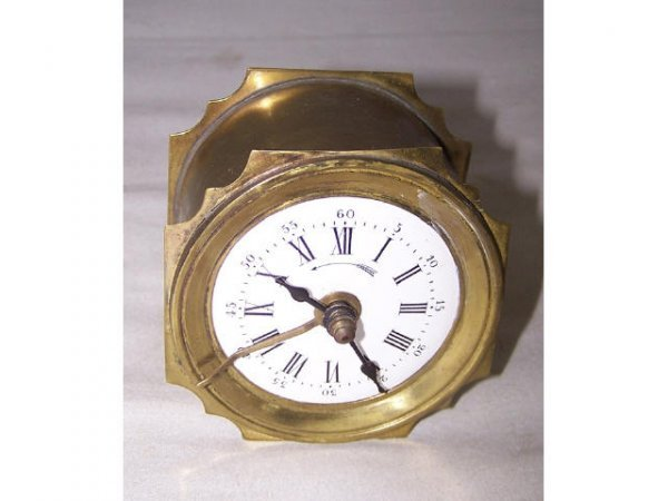 303: 19th Century French Brass Porcelain Face Clock