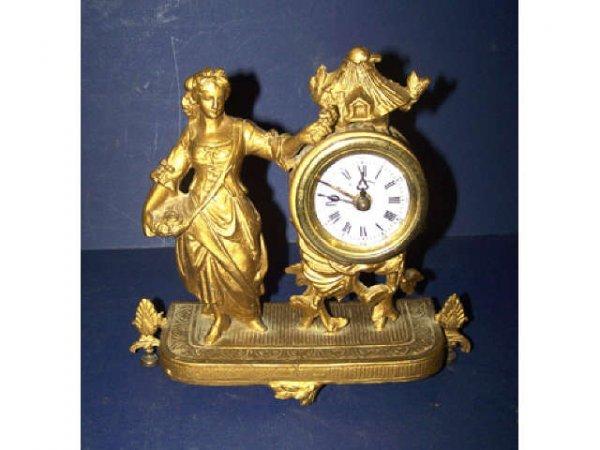 312: Antique Gilt Metal Figural Mantle Clock