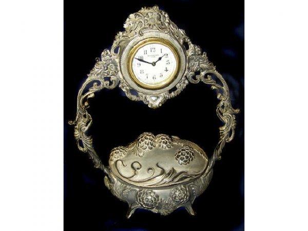 317: RARE Nouveau Silver Jewel Casket with Clock