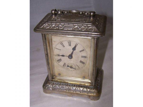 318: 1890s Ansonia Nickel Plate Carriage Clock