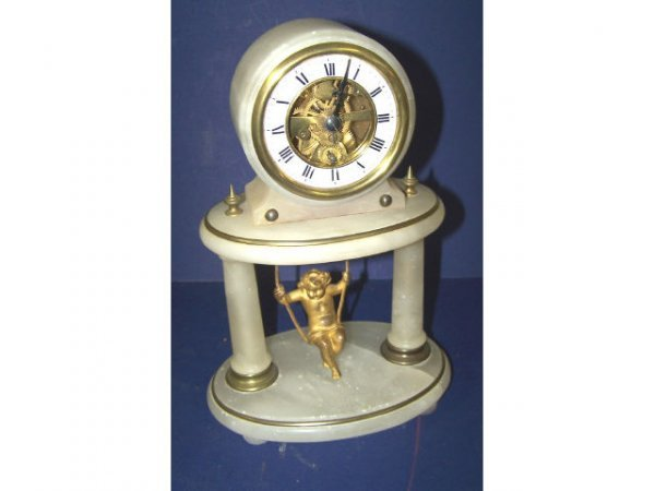 325: Figural Cherub on Swing Alabaster Clock