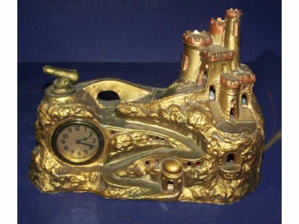 326: Cast Metal Castle Scenic Clock