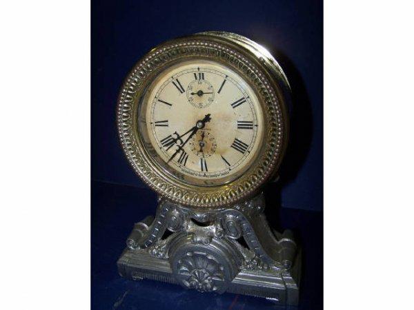 327: Seth Thomas Silver and Brass Fancy Clock