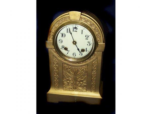 328: Ansonia Brass Art Deco Dome Top Clock