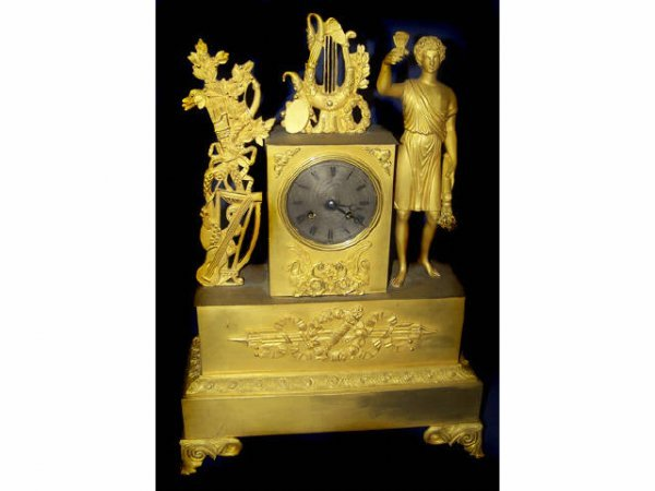 392: Fine DORE Bronze Figural Clock
