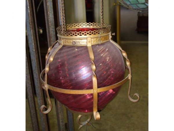 883: Fine Victorian Cranberry Glass Bulb Light