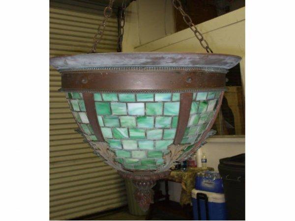 884: Arts & Crafts Bronze Mount Slag Glass Lights