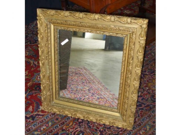 888: Good Gold Framed Rectangle Victorian Mirror