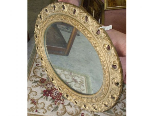 889: Victorian Gold Framed Oval Mirror