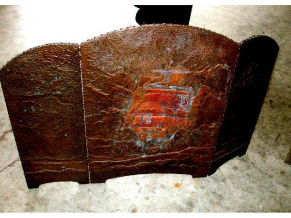 890: Hand Hammered Brass Ships Relief Firescreen