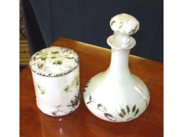 891: Decorated Milkglass Decanter and Puff Box