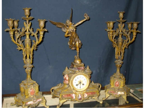 897: Figural 3 pc. French Clock Set