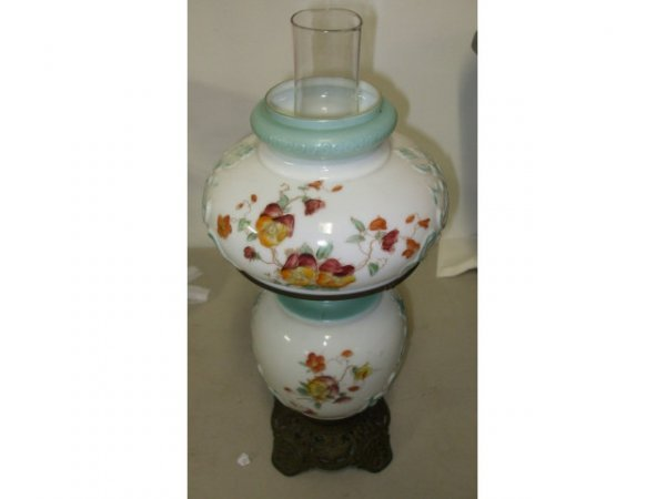 898: Floral Shade Beaudoir Lamp