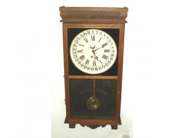 899: Fine Ingraham Oak Regulator Clock