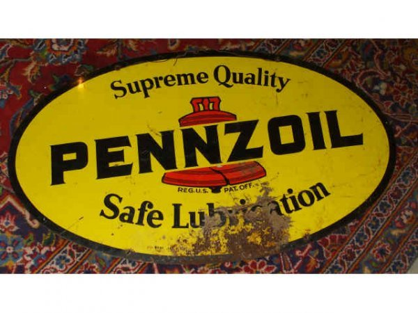 1432: Oval Pennzoil Advertising Sign