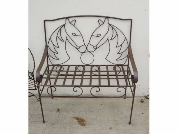1243: Horse Head Decorated Wrought Iron Bench