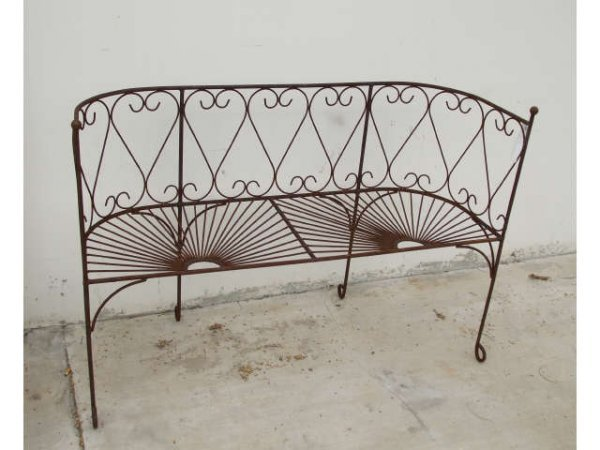 1245: Wrought Iron Fancy Bistro Bench