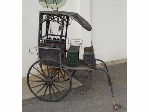 1250: Wicker Rickshaw Garden or Yard Art