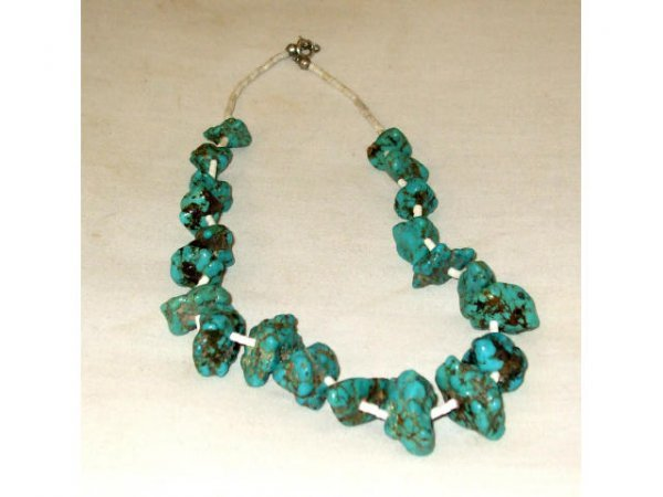 1256: Indian Pawn Turquoise Nugget Necklace