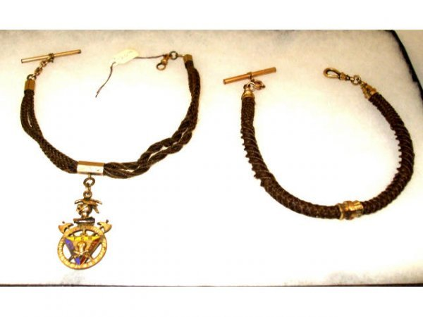 1262: 2 Victorian Mourning Watch Fobs