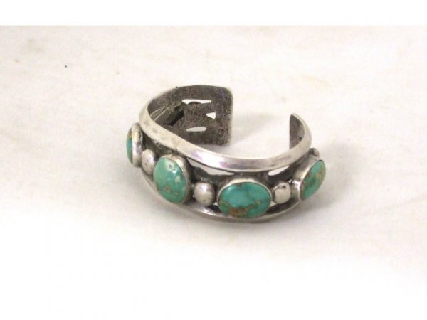 1264: An Indian Pawn Sterling & Turquoise Bracelet