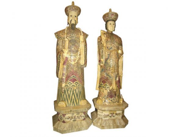 701: Carved Bone Decorated Ivory King & Queen Figures