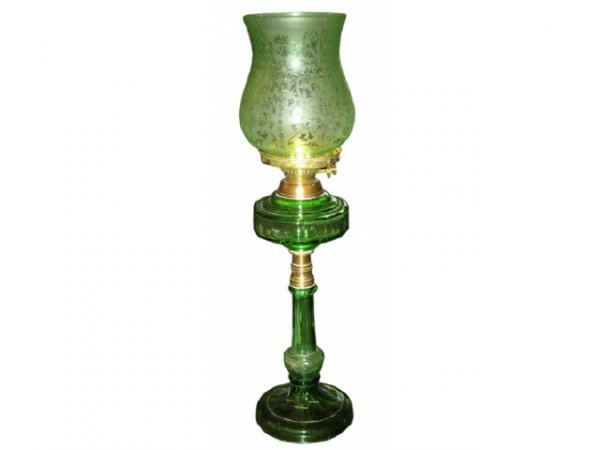 705: Green Etched Glass Oil Lamp