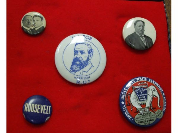 5: RARE Harrison Presidential Button & Others