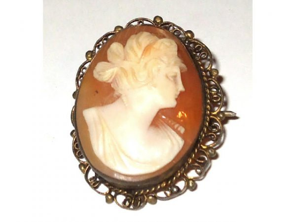 8: Victorian Shell Cameo Pin