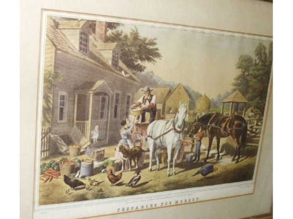 "11: Currier & Ives Lithograph ""Readying for Market """